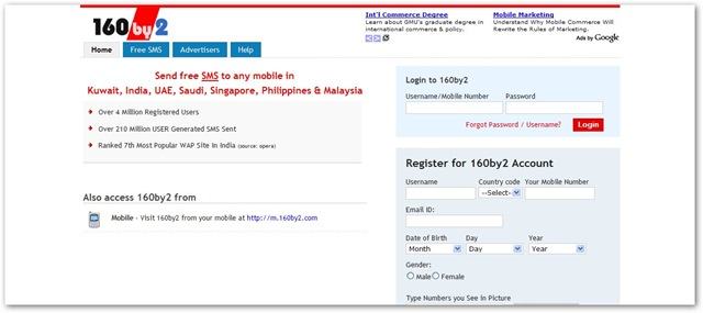160 by 2 Send Free SMS in India