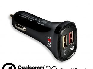 Dual Port Rapid Car charger (Qualcomm Certified) with Quick Charge 3.0 + Free Micro USB Cable – (Black)