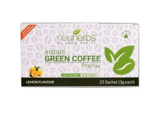 Neuherbs® Instant Green Coffee Premix with Lemon Flavour for Weight Management (20+5 Sachet), Each 3g