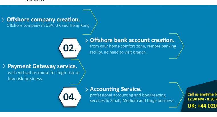 Offshore Company and Bank account registration with Merchant Account