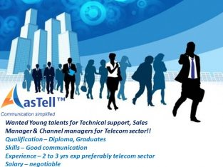 Wanted young talents for Technical support, Sales & channel managers!!